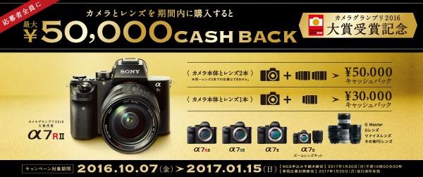 カメラグランプリ2016大賞受賞記念キャッシュバックキャンペーン