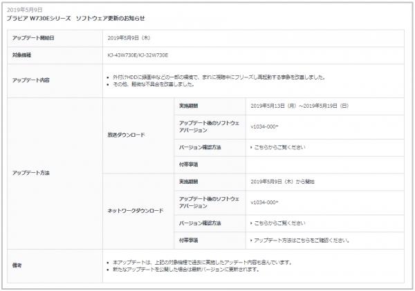 お知らせ| ブラビア W730Eシリーズ「KJ-43W730E」「KJ-32W730E」本体アップデート情報