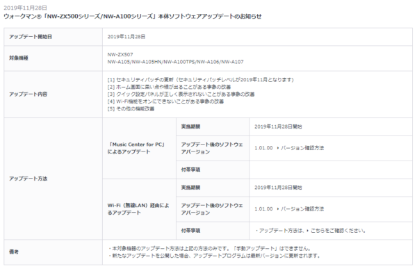 ウォークマン NW-ZX500シリーズ / NW-A100シリーズ 本体ソフトウェアアップデート