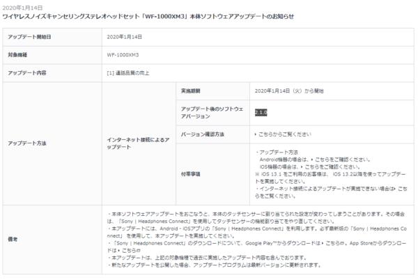 WF-1000XM3 本体ソフトウェアアップデート Ver.2.1.0