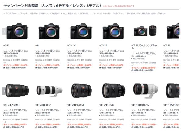 対象カメラ・レンズ