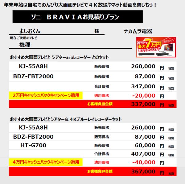 最大7万円 ブラビアキャッシュバックを活用した購入シミュレーション(その3)