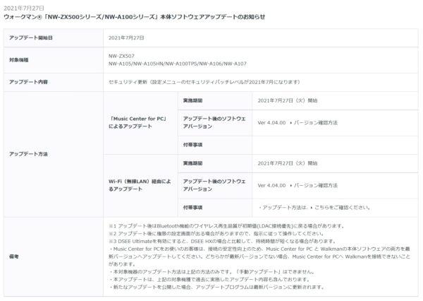 ウォークマン NW-ZX500 / NW-A100 シリーズ 本体ソフトウェアアップデート(Ver 4.04.00)